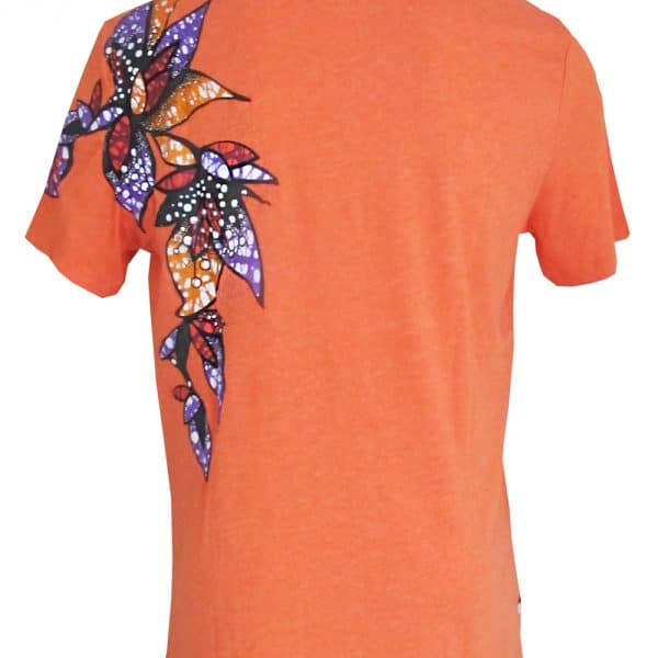 Classic round neck orange t-shirt with Vlisco super wax loincloth inlays.