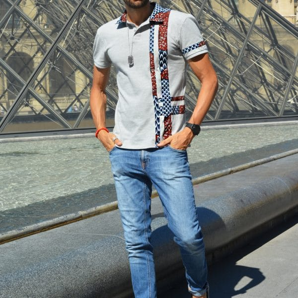 Gray short-sleeved polo with inlaid Vlisco super wax loincloth.