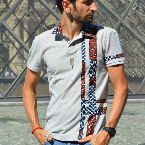polo gris chiné pour homme de la collection xes schaix paris