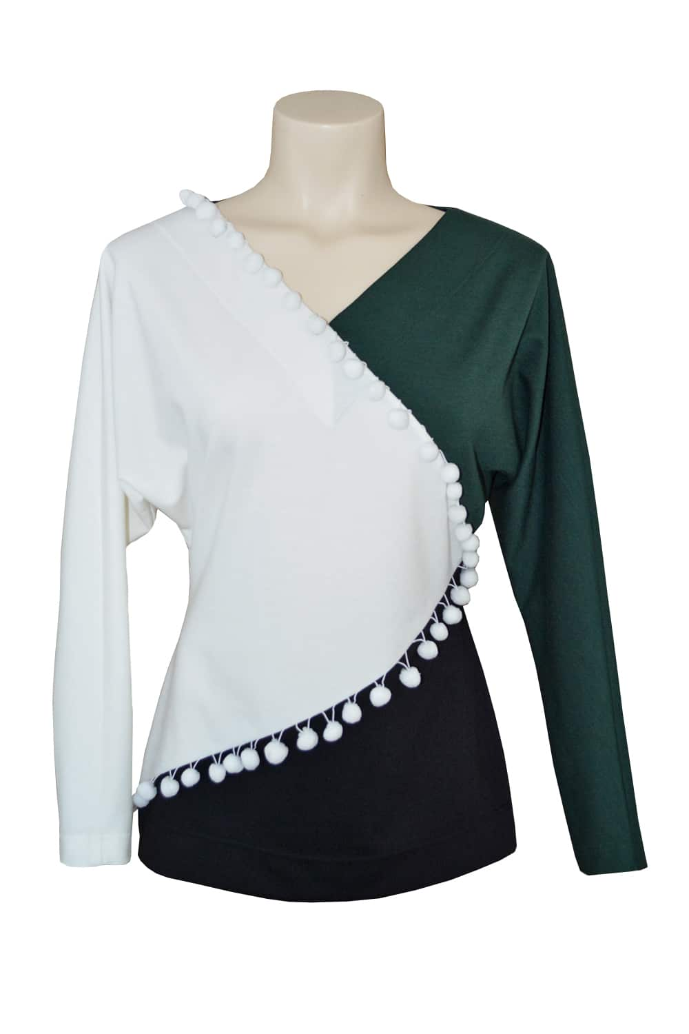 Asymmetrical tri-color wool jersey tunic accented with white pompoms.
