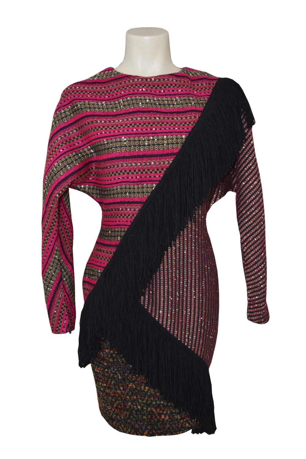 Asymmetrical wool dress. Choker underlined by a large band of wool fringes. Three tweeds of different weaves make up the entire dress.
