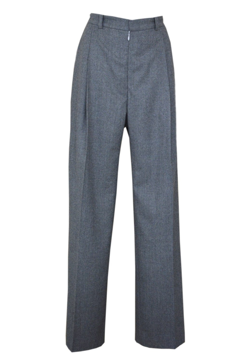 Wide gray high waist trousers with flat pleats on the front.