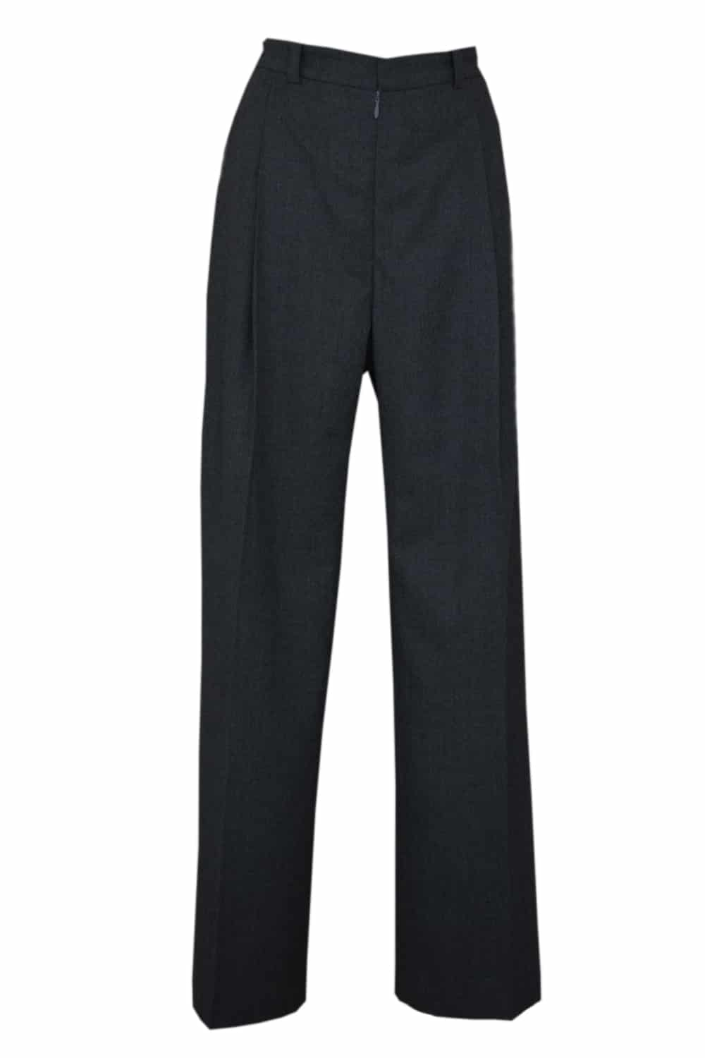 Wide black high waist trousers with flat pleats on the front.