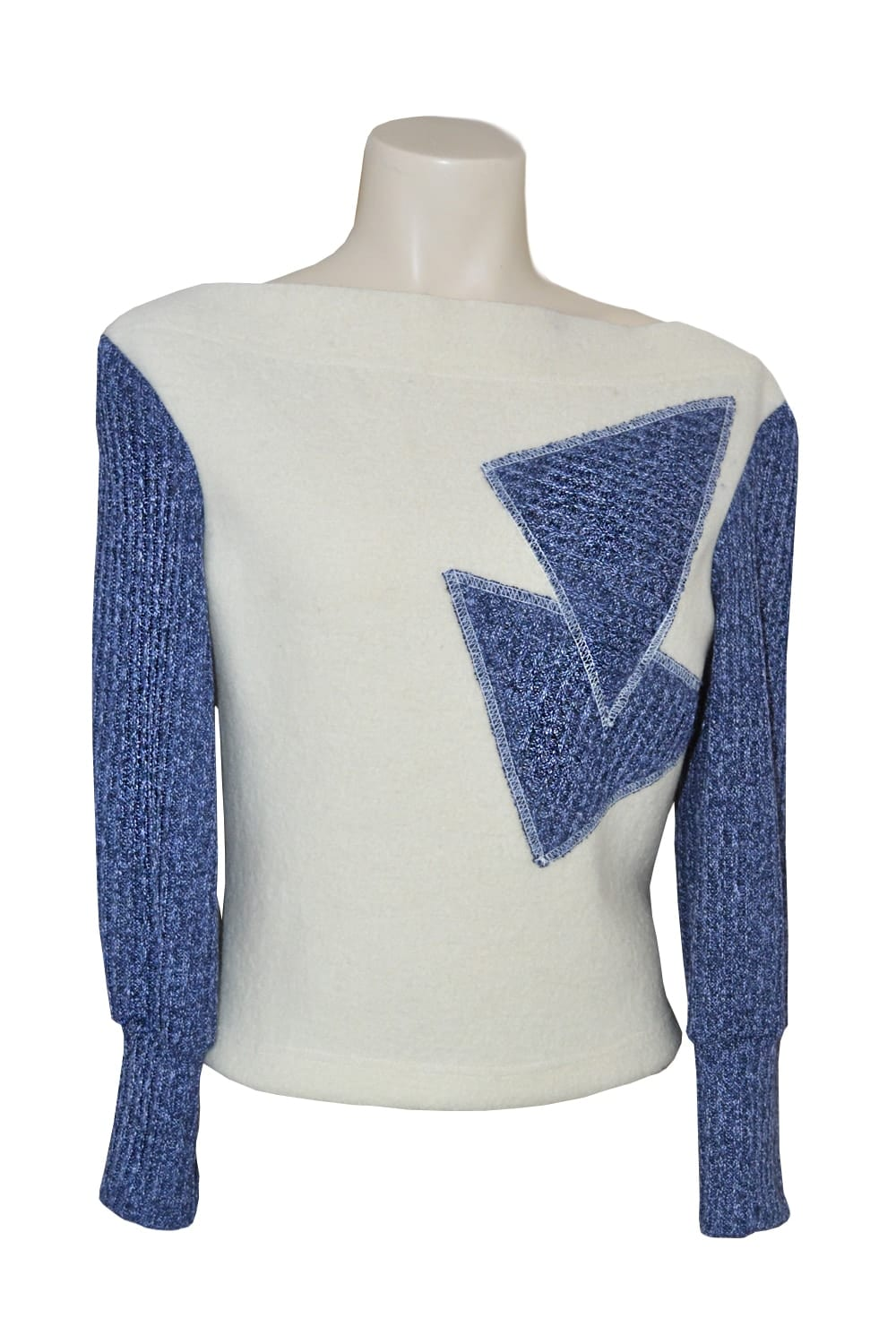 Winter wool sweater. Sleeves and patterns in heather blue denim heather.