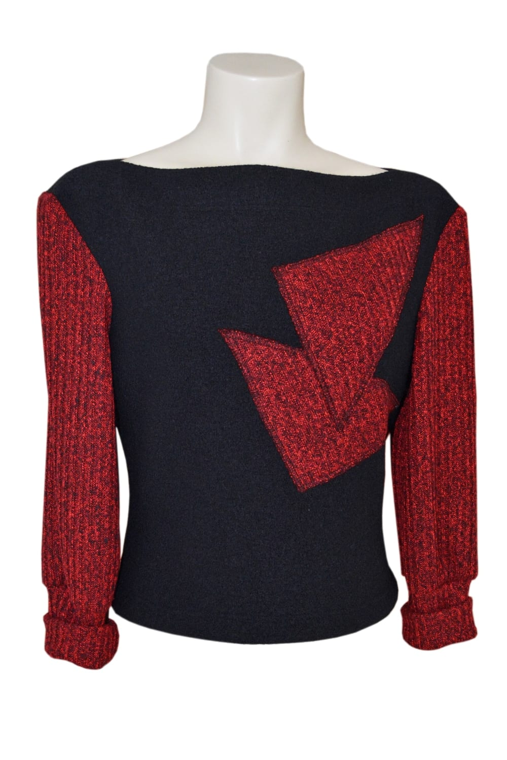 Winter red wool sweater Erik Schaix. Sleeves and patterns placed in red heathered corduroy.