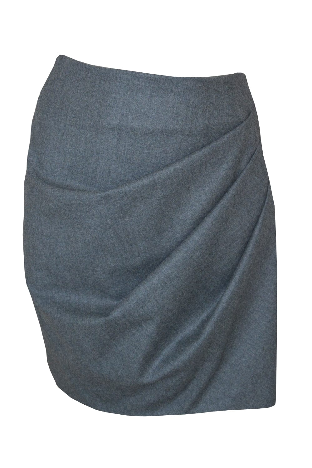 Short - skirt draped on the front in gray flannel.