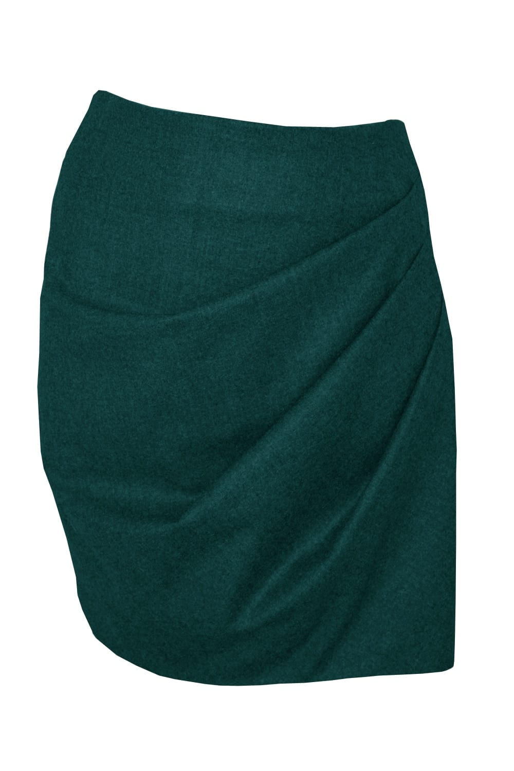 Short skirt draped on the front in green flannel.