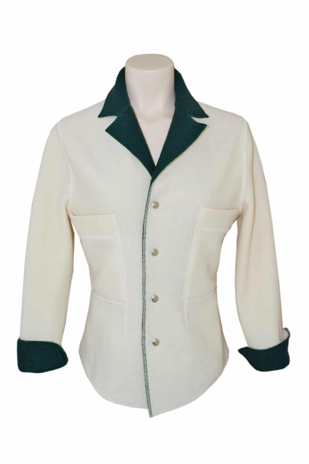Two-tone boiled wool jacket shirt on the front and flanked by two large patch pockets on the chest.