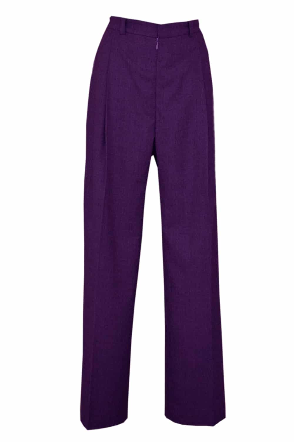 Purple trousers 100% wool. A great classic for a working girl's wardrobe, Metis tailoring pants will bring a chic touch to your look.