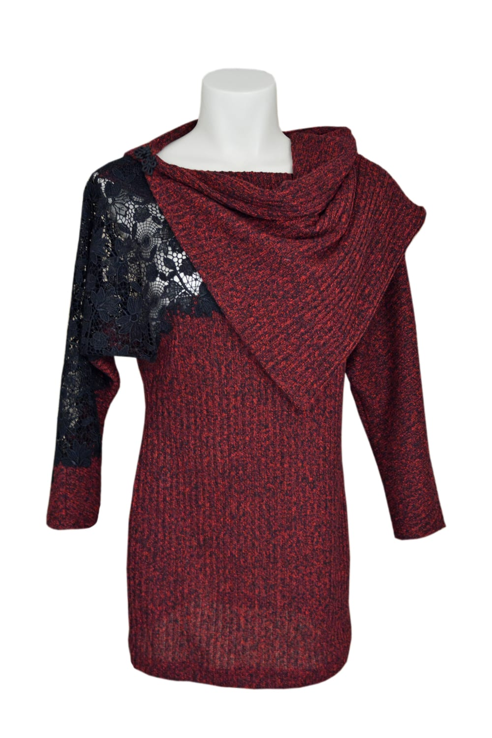 Red tunic, long sleeves and asymmetrical collar. Inlay of lace on sleeve and left shoulder.