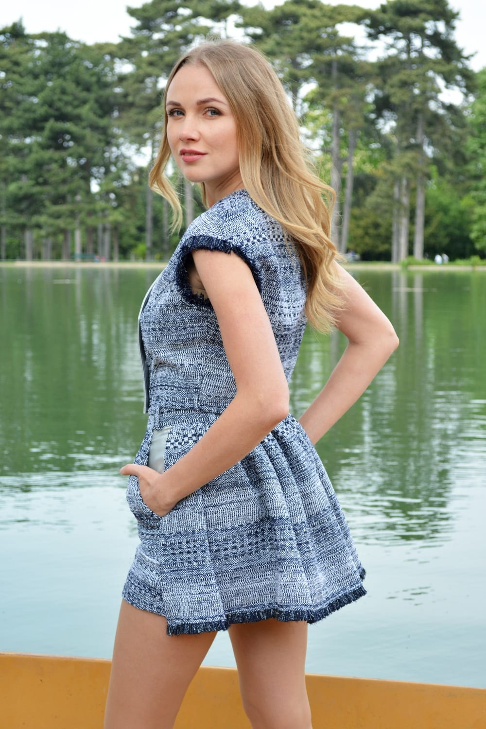 Women's tweed set. Blue and white tweed set. Short effect skirt back. Asymmetrical top without sleeves. Summer collection by the French stylist Erik Schaix.