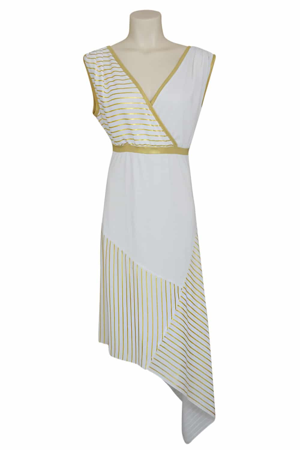 Asymmetrical summer dress in white and gold jersey.