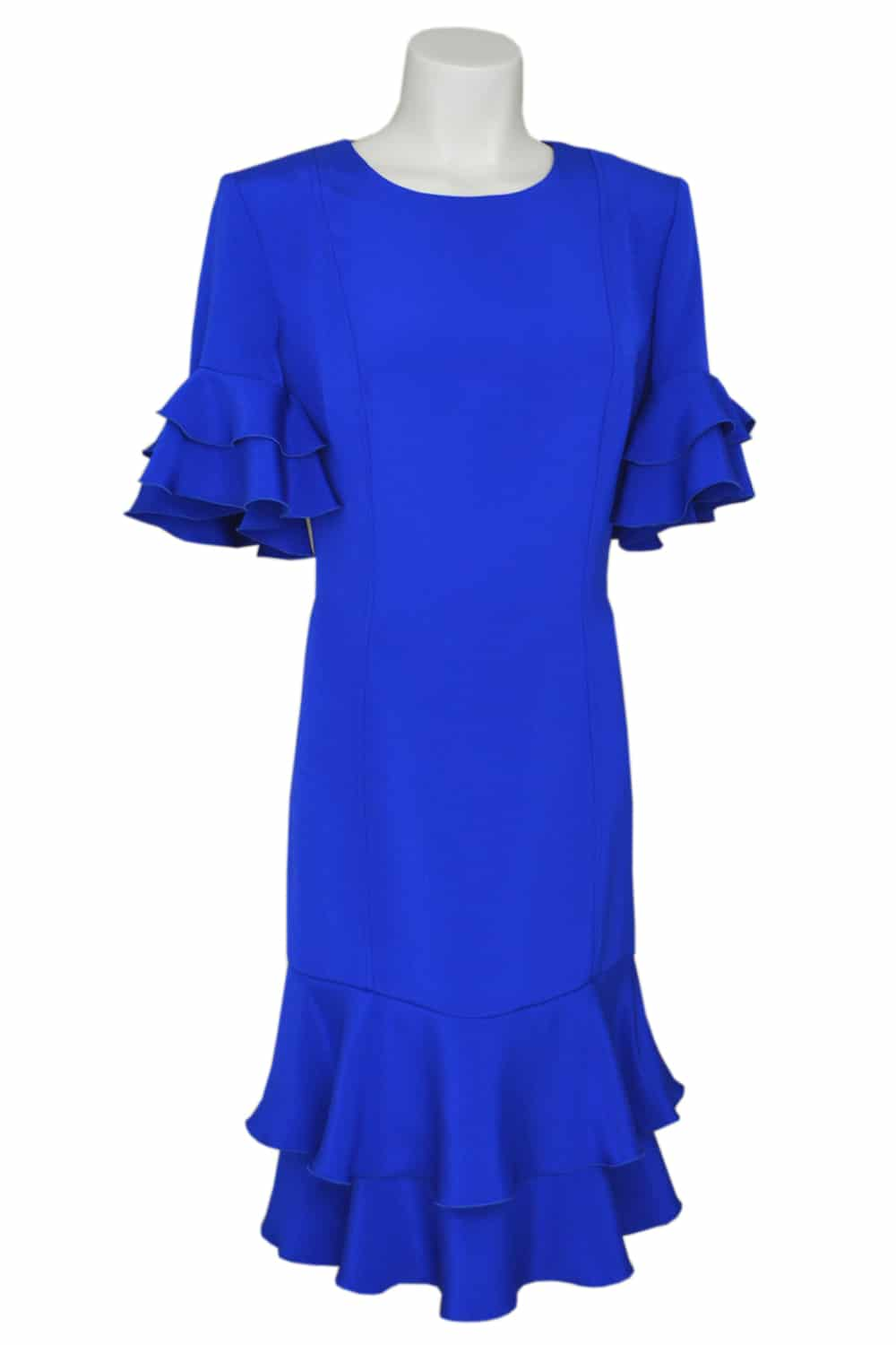 Blue dress 100% silk with ruffles. Ready-to-wear summer collection by the French fashion designer Erik Schaix