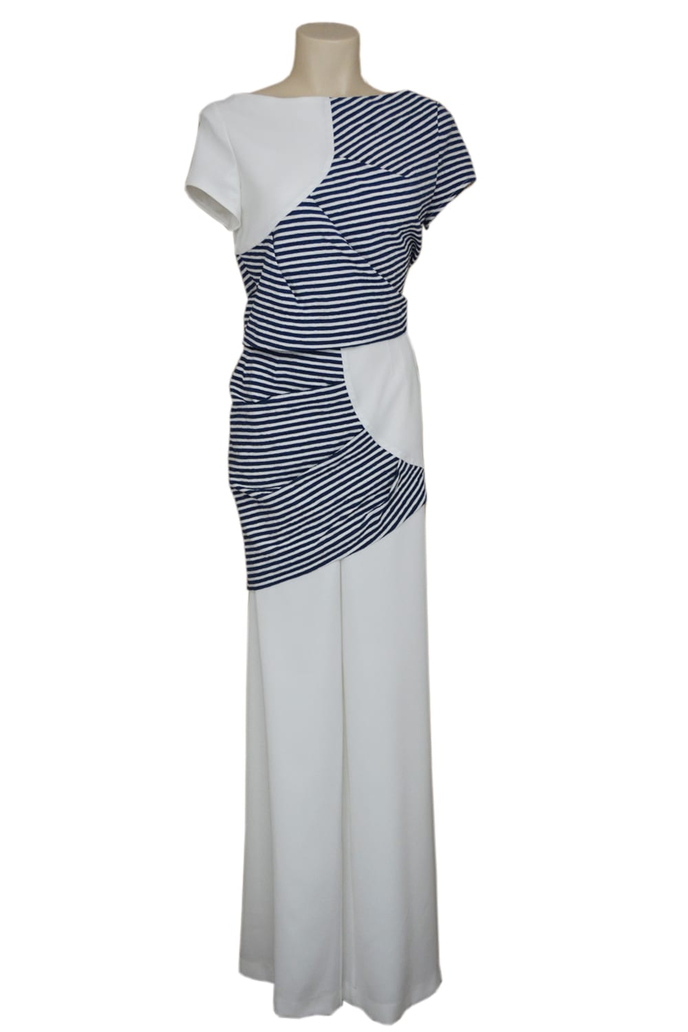 Striped set with a sleeveless bolero and fluid pants in stretch cotton and crepe blue and white.  JIG Style Couture set by Parisian stylist Erik Schaix.