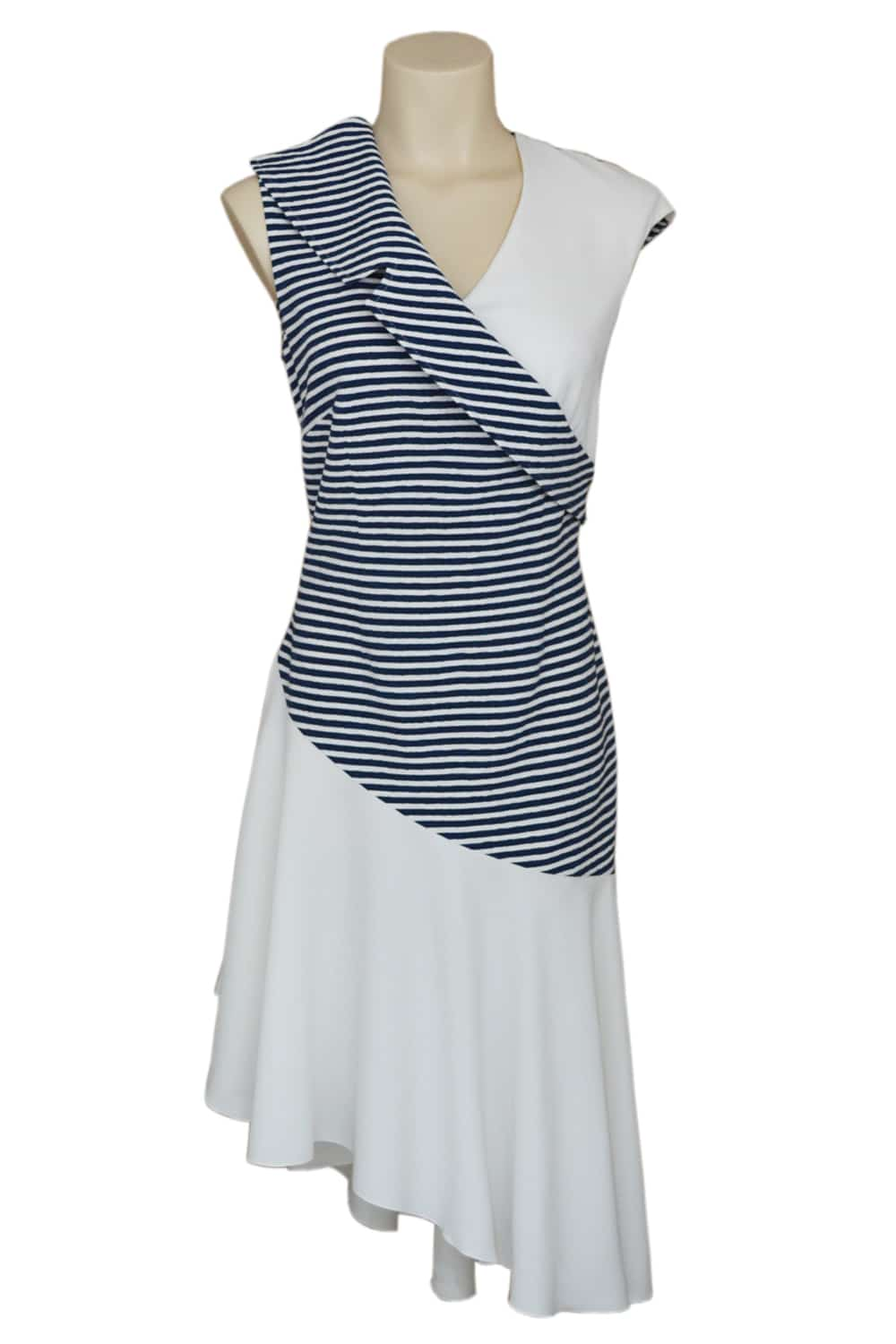 Parisian dress. Elegant and asymmetric dress in strech cotton and crepe blue and white.