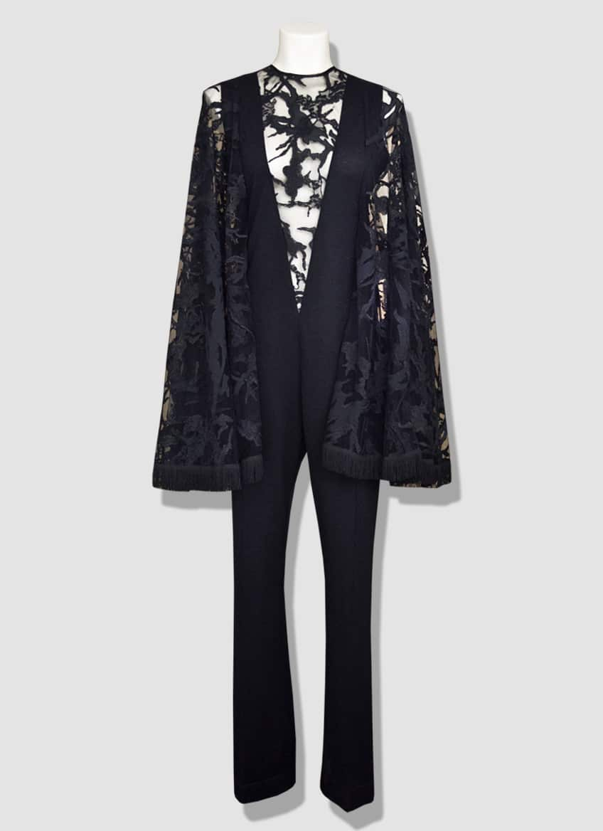 Black lace jumpsuit. Evening jumpsuit pant with a deep lace neckline. Beautiful butterfly lace sleeves.