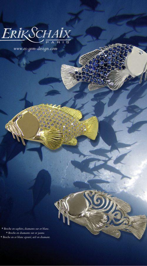 broches poissons joaillerie erik schaix
