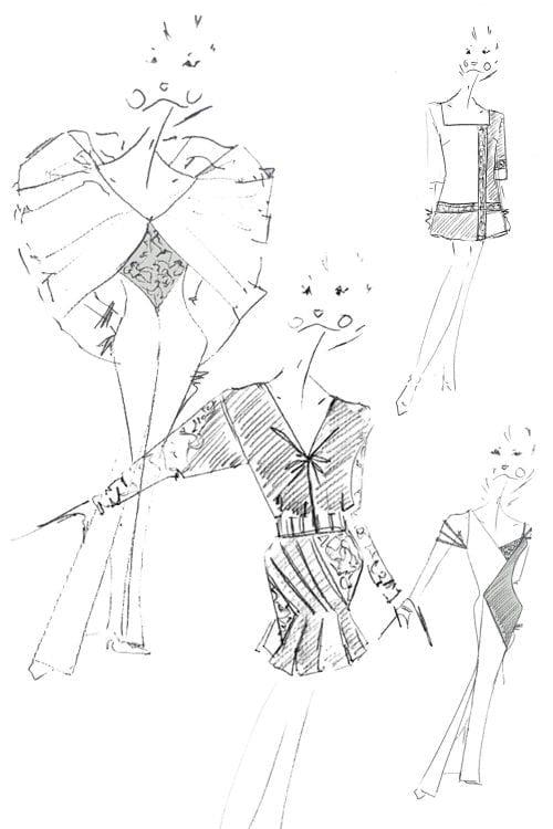 Croquis du Couturier parisien Erik Schaix. Service de couture sur-mesure.
