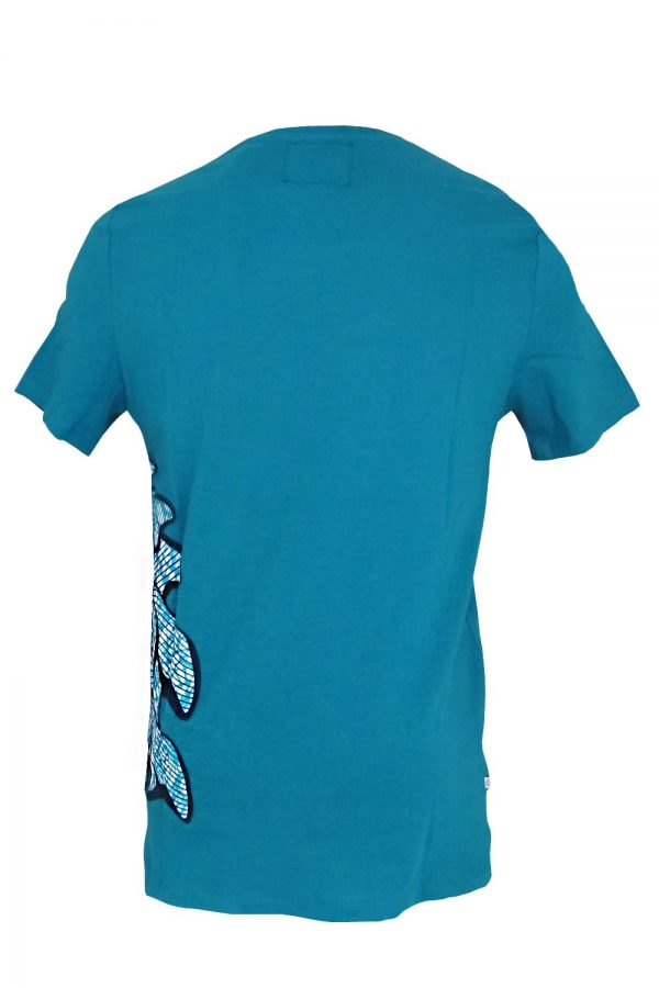 Classic round neck blue t-shirt with Vlisco super wax loincloth inserts.