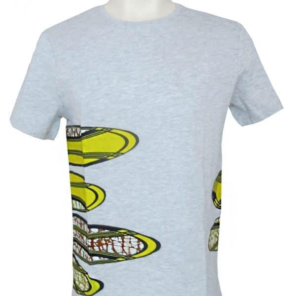 t-shirt gris tendance pour homme avec incrustation de pagne super wax vlsico par le designer parisien Erik Schaix