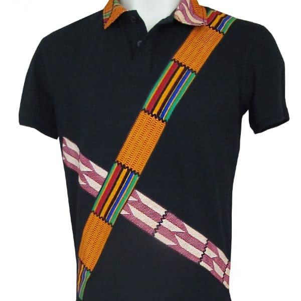 Black short-sleeved polo shirt with inlaid Vlisco super wax loincloth.