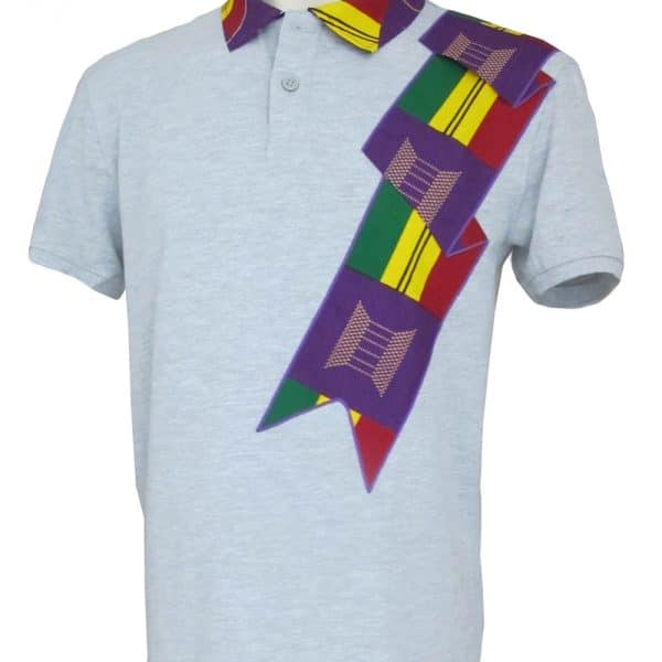 Grey men's short-sleeved polo shirt with inlaid Vlisco super wax loincloth.