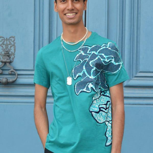 t-shirt bleu wax par le couturier designer parisien erik schaix. Collection Xes