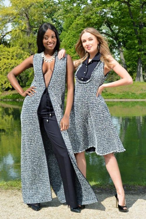 Navy blue tweed set for elegant women by the Parisian fashion designer Erik Schaix. Spring summer collection.