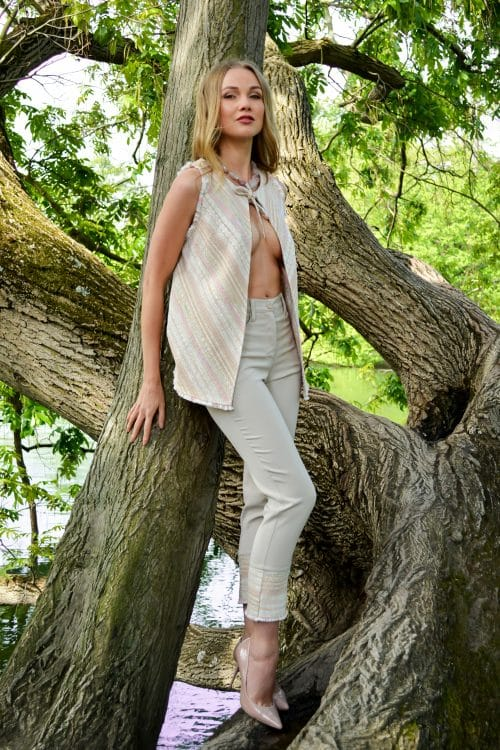 Beige pants and top from the spring summer collection by Erik Schaix Paris