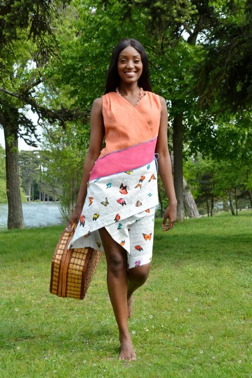 Colorful dress with butterflies by the French fashion designer Erik Schaix.