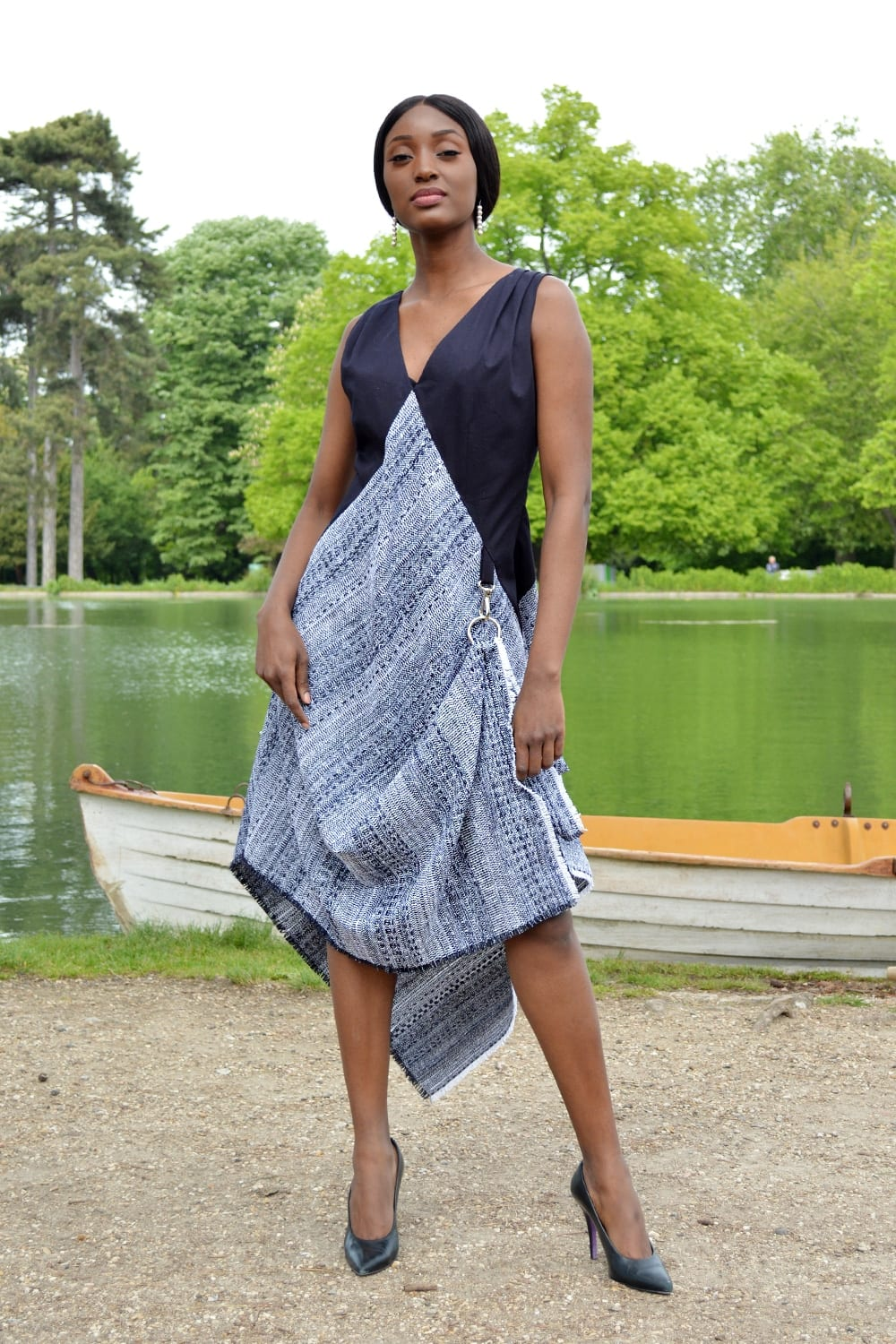 Designer long dress in navy blue tweed and cotton gabardine. Ready-to-wear collection summer 2019 handmade in our Parisian workshop.