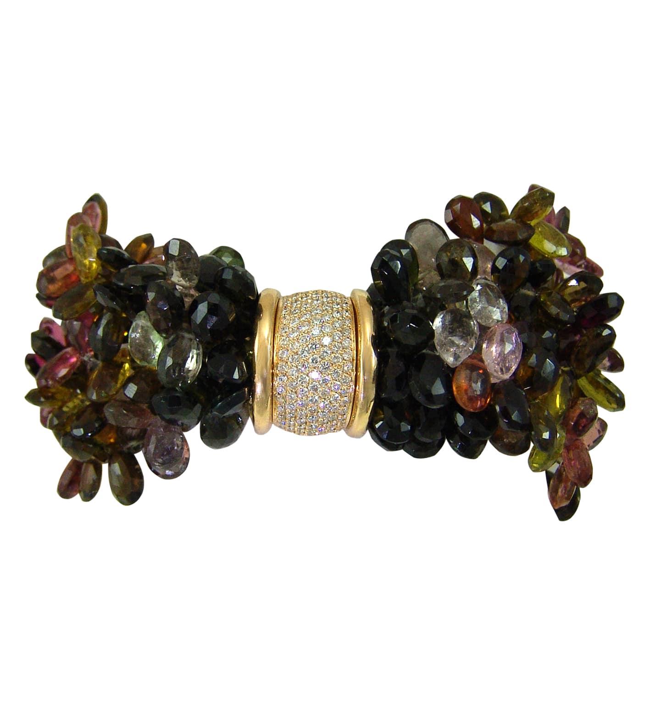 Bracelet en briolettes de tourmaline multicouleurs, diamants et or jaune briolette tourmalines