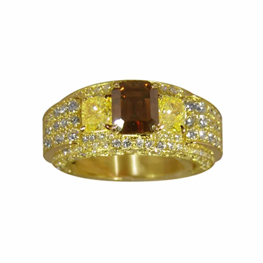 Bague jonc or jaune diamant coussin jaune 2 troïdias fancy brun