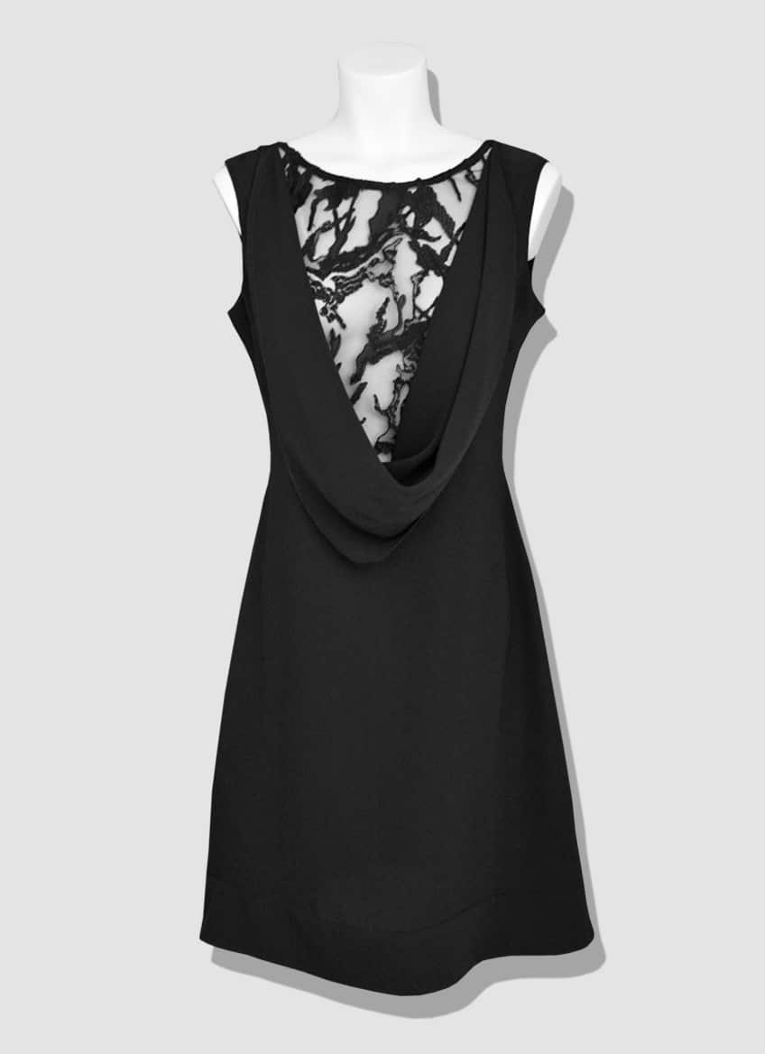 Black neckline lace dress. Draped scoop neck enhanced by a transparent lace. Glamorous and sexy, the Delhi dress will reveal your silhouette with subtlety.