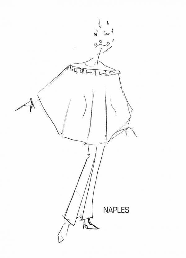 Ensemble femme chic. Croquis ensemble top manches chauve-souris en transparence avec jupe crayon.