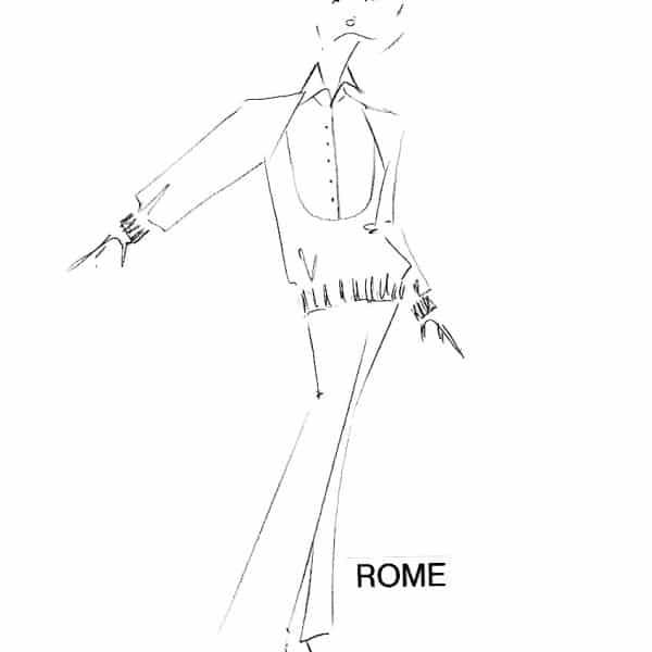 Ensemble chic femme composé d'une jupe fendue accompagnée d'un chemisier blouson à rayures. Pièce réalisée à l'unité dans notre atelier parisien.