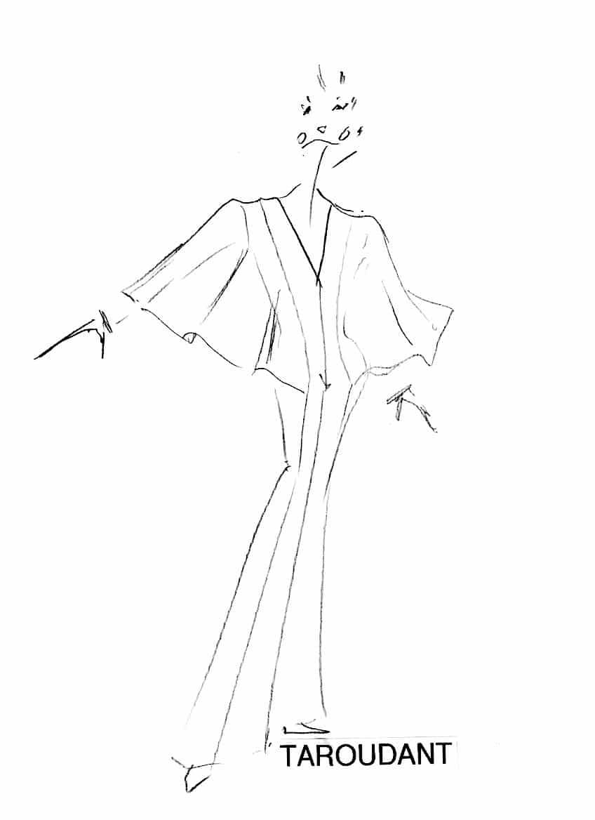 Combinaison femme dentelle noire. Combinaison pantalon en jersey pour le soir, profond décolleté sur le devant couvert par une dentelle, manches papillons en dentelle soulignées d'un feston de franges.