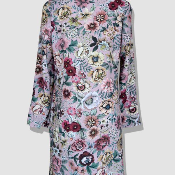 Robe à fleurs style chemise en viscose imprimée avec col écharpe. Découvrez notre collection prêt-à-porter pour femme réalisée dans notre atelier parisien.