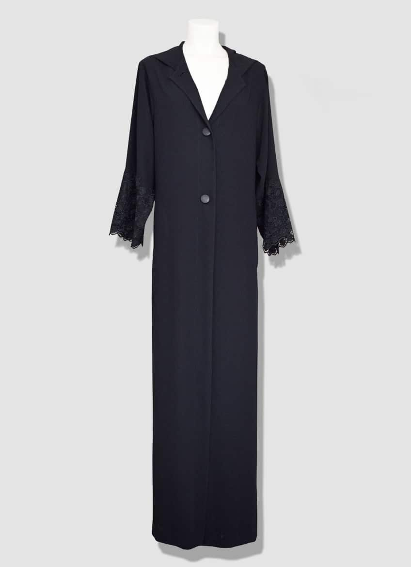 Black guipure lace abaya with buttons at the front and a beautiful hood.