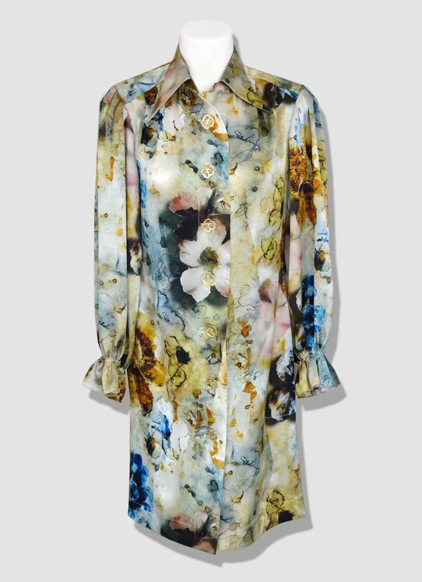 Fashion printed silk shirt dress with funnel collar. Winter ready-to-wear collection by Erik Schaix Paris.