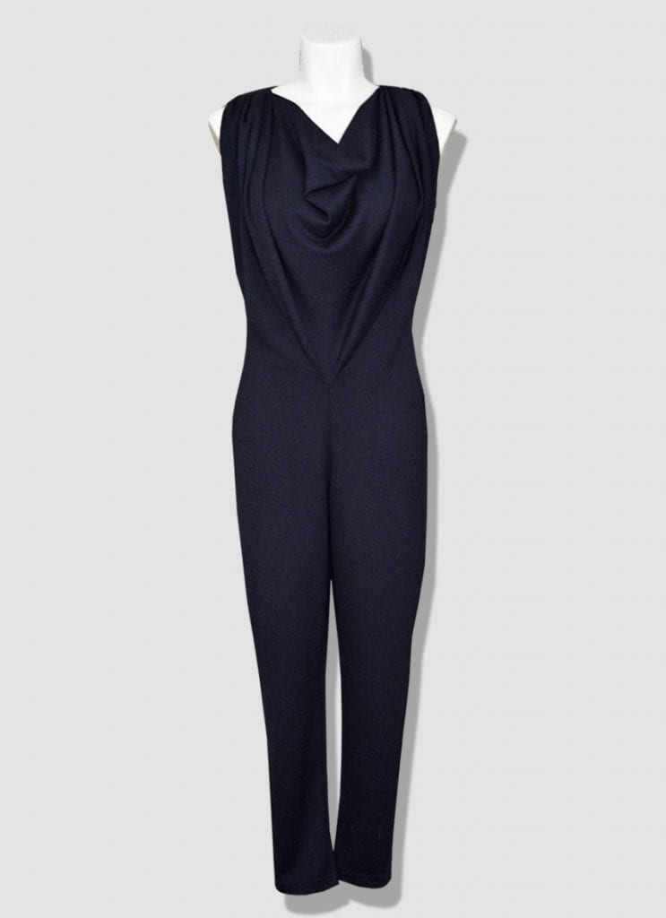 Women's jumpsuit pants in wool jersey with a cowl neckline. Collection produced individually in our Parisian workshop.