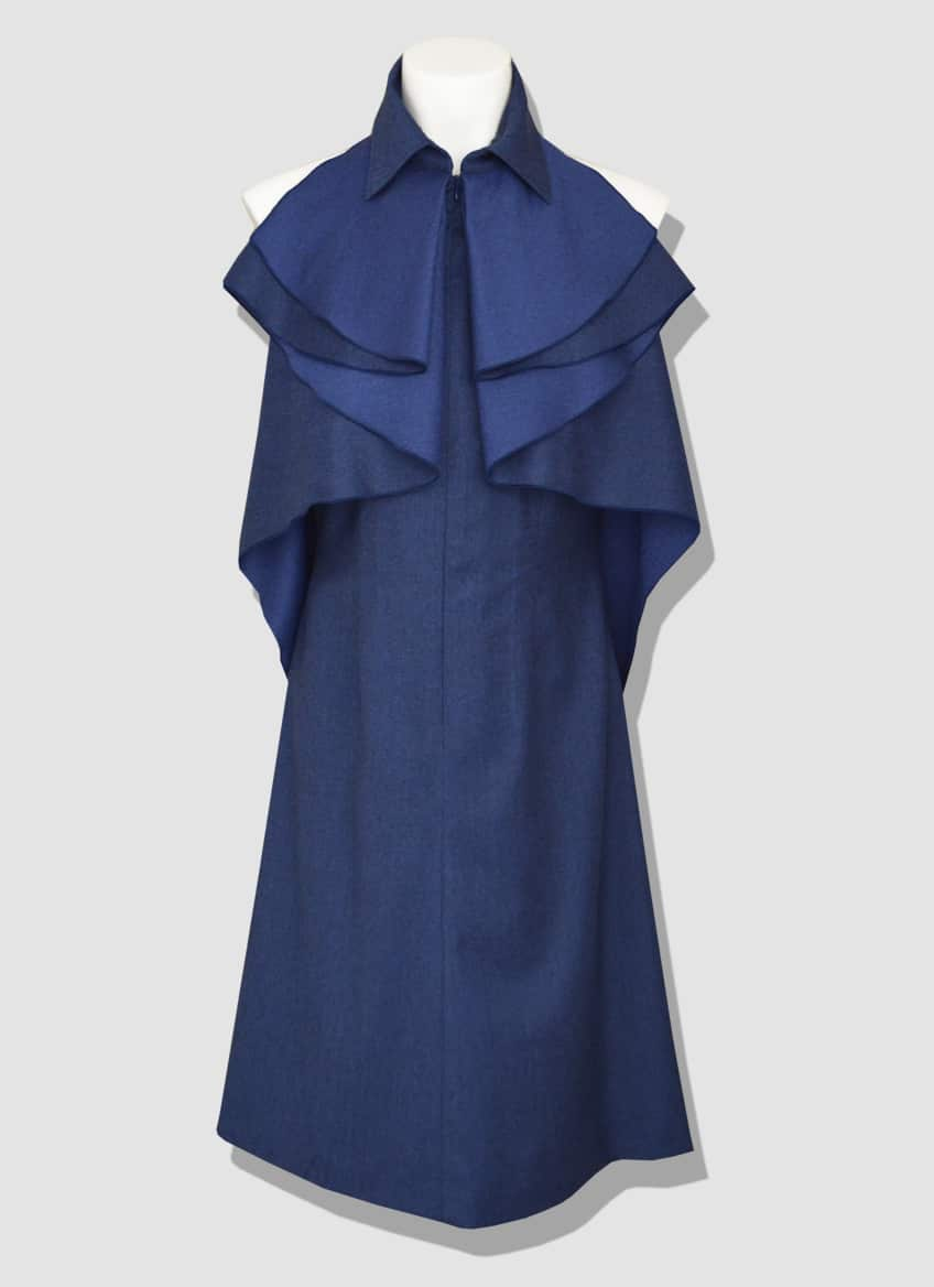 Glamorous halter wool dress by the French fashion designer Erik Schaix.