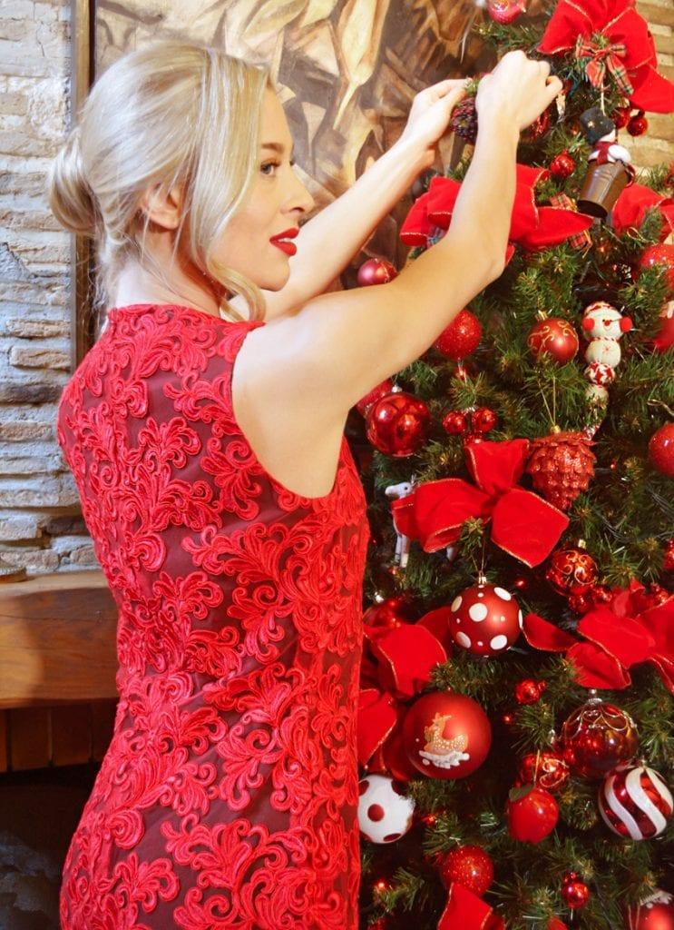 Red lace dress by the Parisian fashion designer Erik Schaix.