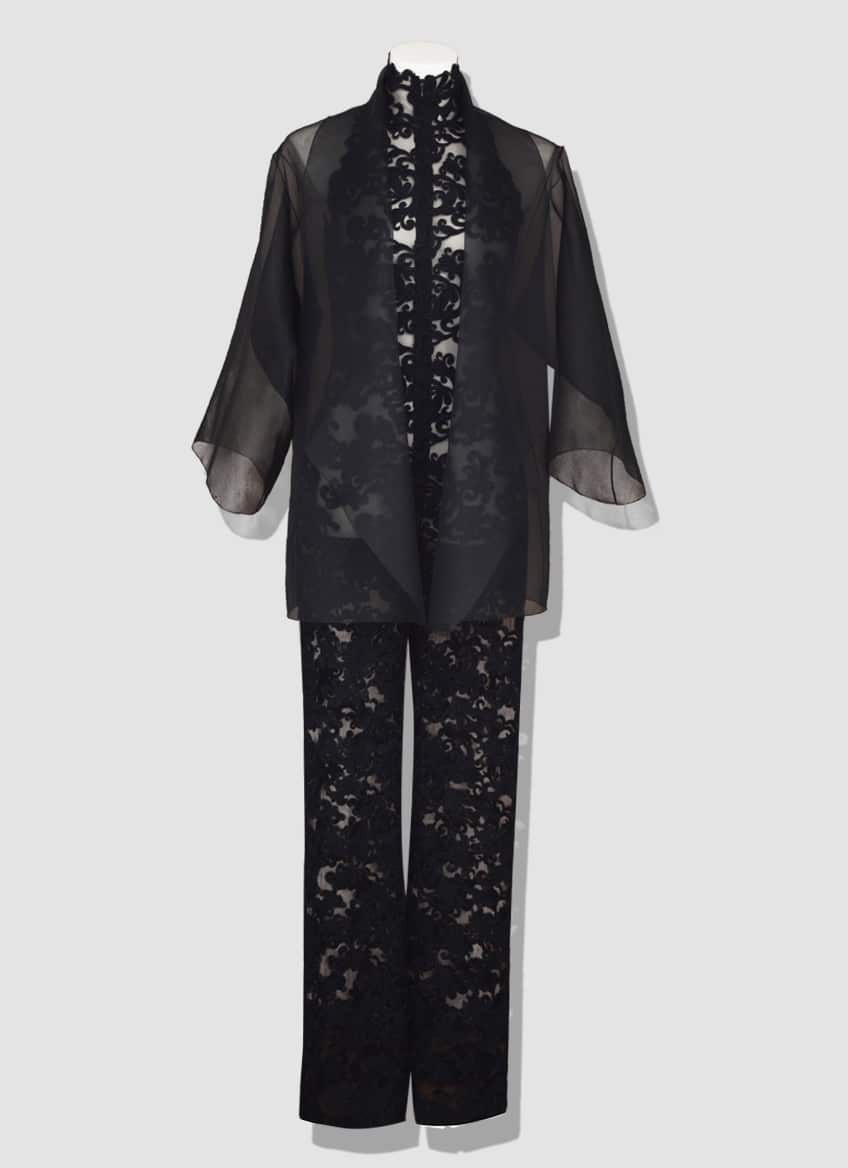 Black lace jumpsuit and organza jacket. Discover our incredible fashion creations. Erik Schaix Fashion house since 1986
