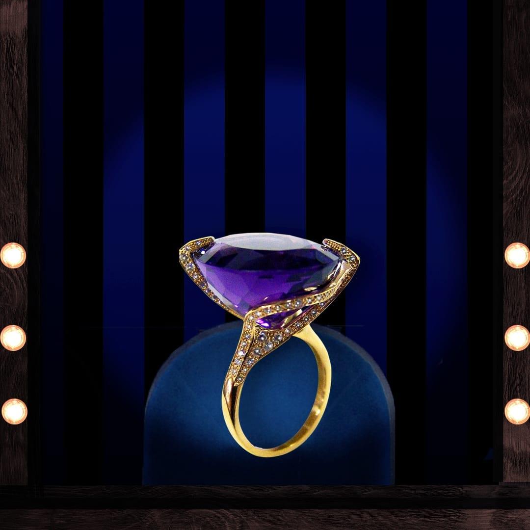 Bague en améthyste, diamants et or jaune 18 carats.