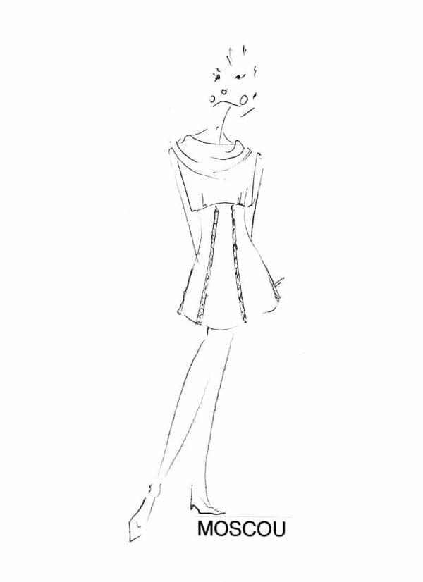 Dessin mode robe collection hiver 2020 réalisé par le stylist parisien Erik Schaix
