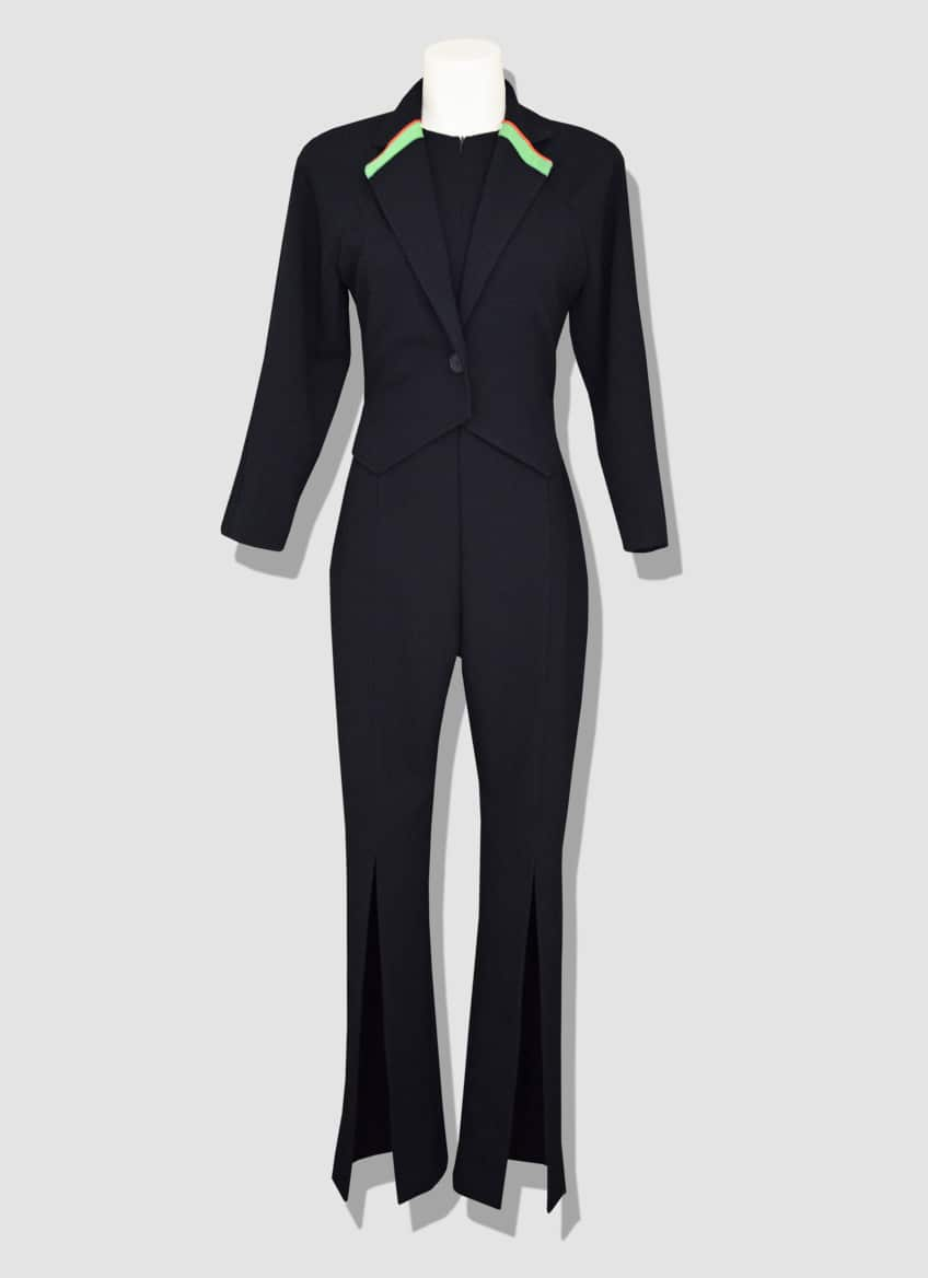 Women's wool black suit with thin yellow and orange fluorescent strips for a modern and original touch.