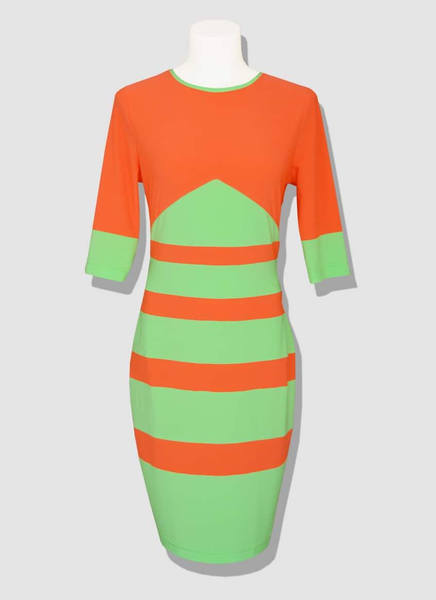 Orange and green fluorescent tight dress. DUKHAN dress designed by the Parisian stylist Erik Schaix.