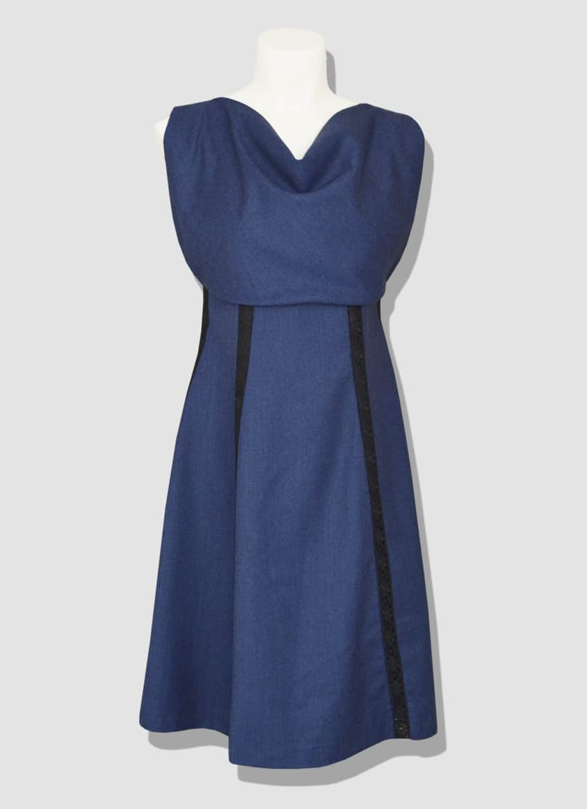 Fashion Designer dress made of blue wool. Trapeze cut and draped scoop neck. MOSCOW dress designed by the Parisian stylist Erik Schaix.