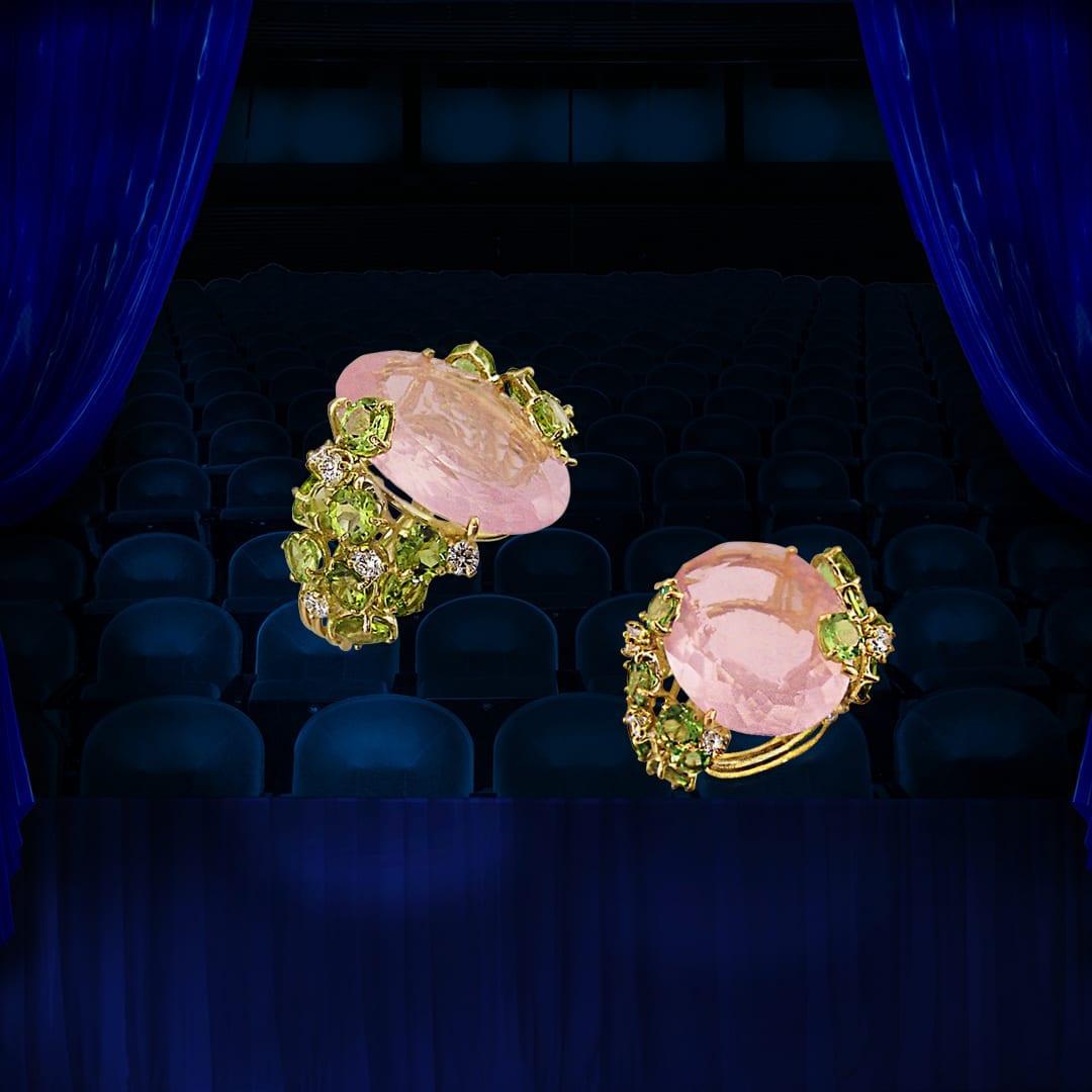 Bague en quartz rose, péridots, diamants et or jaune 18 carats.